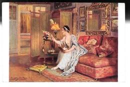 Cpa...illustrateur ...E.Deully...j'aime A Les Relire...femme élégante Sur Un Canapé... - Illustrateurs & Photographes