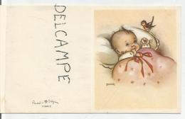 Petit Enfant Dans Son Berceau Et Rouge-gorge. Signée Bonnie - Naissance & Baptême