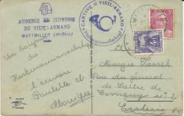 CARTE POSTALE 1948 AVEC TIMBRE A 3 FR MARIANNE DE GANDON ET TIMBRE TAXE A 4 FR - Cartas Con Impuestos