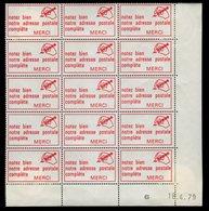 Bloc De 15 Vignettes Code Postal Du 18/04/1979 - Postcode