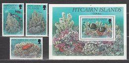 Pitcairn - Correo Yvert 425/7+H 11 ** Mnh Fauna Marina Corales Peces - Islas De Pitcairn