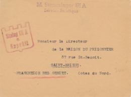 """Griffe """" STAMMLAGER IIIA Service Juridique """" + CENSURE Illustrée Sur Lettre > SAINT-BRIEUC Cotes Du Nord - Occupation - WW2 (II Guerra Mundial)"""
