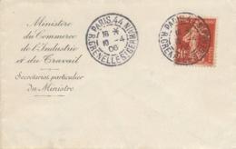 """SEMEUSE SOL N°134 Obl """" 10/4/06 """" DATE 1er JOUR ANTICIPÉ - PARIS 44 Rue Grenelle St Germain Lettre Ministere Travail - 1906-38 Semeuse Camée"""