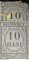 Errors  Revenues Stamps Romania Taxa De Plata 10bani With Btlroken Number 1 - 1881-1918: Charles I
