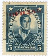 CILE, CHILE, COMMEMORATIVO, COCHRANE, 1927, 5 C., FRANCOBOLLO USATO  Mi:CL D17, Scottn:CL O17, Yt:CL S25 - Chili