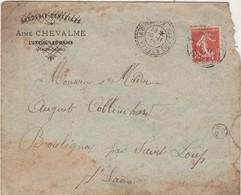 Enveloppe 1908 / Broderies Aimé Chevalme / Cachet Pointillé La Chapelle Aux Bois / 88 Vosges / Cachet OR - 1900 – 1949