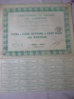 Caoutchouc Et Cacao Du Cameroun Paris Titres De Cinq Action De Cent Francs 1943 - A - C