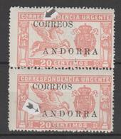 ANDORRA CORREO ESPAÑOL PAREJA DE SELLOS  UNO CON LA A DE ANDORRA   Y LA O DE CORREOS ROTA SIN CHARNELA Nº 13 (S.1.) - Andorra Española