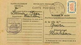 Carte De Ravitaillement, Mairie De LARMOR-PLAGE (Morbihan), Cachet à Date De Bureau De Distribution - 27-7 1946 - Marcophilie (Lettres)