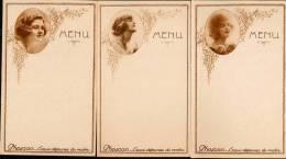 3 Menus Vierges Anciens - Publicité PHOSCAO - 3 JEUNES FEMMES En MEDAILLON Années 30 Ornés De Fleurs Et Raisin-Art Déco - Menus