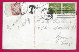Écrit Postal Taxé à 30 Centimes Daté De 1922 - Voyagé De Mainz - Mayence - Vers - Lyon - Franse Zone