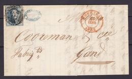 N° 7 Margé  / Lettre De Courtrai  29 Vers Gand  22 Janv 1852 Lac - 1851-1857 Medallions (6/8)