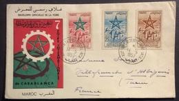 AFMAR1 Maroc Poste Aérienne 103 104 105 Foire Internationale Casablanca 14/5/1957 Lettre Vers France - Maroc (1956-...)