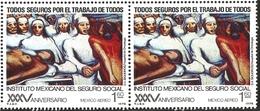 J) 1977 MEXICO, PAIR, MEXICAN SOCIAL SECURITY INSTITUTE, 35TH ANNIVERSARY, TUMOR CLINIC, BY DAVID ALFARO SIQUEIROS, SCOT - Mexico