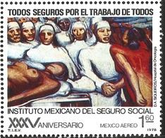 J) 1977 MEXICO, MEXICAN SOCIAL SECURITY INSTITUTE, 35TH ANNIVERSARY, TUMOR CLINIC, BY DAVID ALFARO SIQUEIROS, SCOTT C553 - Mexico