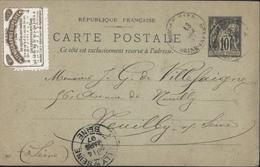 Entier Carte Postale 10 Ct Sage G10 Date 647 CAD Bosc Le Hard 76 13 Mars 97 Vignette Sténographie Duployé - Entiers Postaux