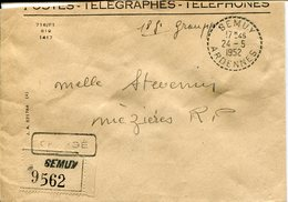 Ardennes.SEMUY. 1952. Lettre Chargée, Cachets De Cire Au Dos - Marcofilie (Brieven)