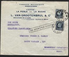 N°215(2) Montenez Obl. RONSE RENAIX S/L Par Avion Vers Le Maroc Le 28/1/1926 (lettre 1fr + 1fr Avion). TB - 1921-1925 Small Montenez