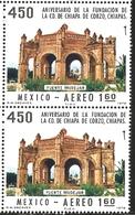 J) 1978 MEXICO, VERTICAL PAIR, FOUNDING OF CHIAPA DE CORZO, CHIAPAS, 450TH ANNIVERSARY, MOORISH FOUNTAIN, SCOTT C555, MN - Mexico