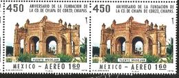 J) 1978 MEXICO, HORIZONTAL PAIR, FOUNDING OF CHIAPA DE CORZO, CHIAPAS, 450TH ANNIVERSARY, MOORISH FOUNTAIN, SCOTT C555, - Mexico