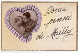 CPA Fantaisie - Couples - Ajoutis Photo - Ruban - Tissu - Douce Pensée De Mailly - Parejas