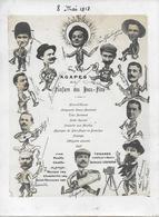 MENU - AGAPES DE LA FANFARE DES BECS FINS -TRES RARE GRAND MENU 8 MAI 1913 CARICATURE ET PHOTOS ARRANGEE DES MUSICIENS - Menú