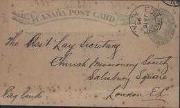 Entier Victoria Gris 1 Cent Repiquage Imperial Bank Canada CAD Edmonton Alta Ja 16 93 Dos Calgary Alta + London Rouge - 1860-1899 Reinado De Victoria