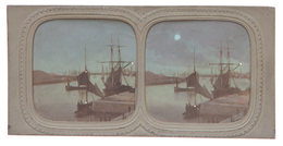 Stereoview - Surpise View Harbour Scene - Hold-to-light Or Tissue View - Visionneuses Stéréoscopiques