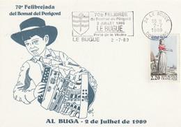 """Env. De """"Le Bugue - 24, Dordogne"""" Du 02-07-1989, """"70e Félibrée Du Bournat Du Périgord"""" Sur YT 2593 - Marcophilie (Lettres)"""