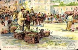 Artiste Cp Napoli Neapel Campania, Gemüsemarkt, Conserves Saxon - Italia