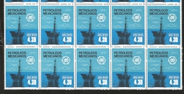J) 1978 MEXICO, BLOCK OF 10, OIL INDUSTRY NATIONALIZATION, 40TH ANNIVERSARY, OFFSHORE OIL RIG., SCOTT C557, MN - Mexico