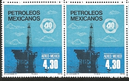 J) 1978 MEXICO, HORIZONTAL PAIR, OIL INDUSTRY NATIONALIZATION, 40TH ANNIVERSARY, OFFSHORE OIL RIG., SCOTT C557, MN - Mexico