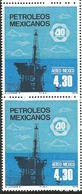 J) 1978 MEXICO, VERTICAL PAIR, OIL INDUSTRY NATIONALIZATION, 40TH ANNIVERSARY, OFFSHORE OIL RIG., SCOTT C557, MN - Mexico