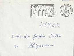 """Env. De """"Sarlat-la-Caneda - 24, Dordogne"""" Du 30-04-1969, """"Emprunt PTT 7%"""" En Franchise - Marcophilie (Lettres)"""