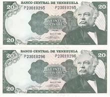 PAREJA CORRELATIVA DE VENEZUELA DE 20 BOLIVARES DEL AÑO 1990 SIN CIRCULAR  (BANKNOTE) UNCIRCULATED (BANKNOTE) - Venezuela