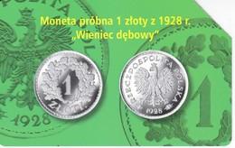 TARJETA DE POLONIA DE UNA MONEDA DE 1 ZLOTY (COIN)(pequeña Marca Central) - Sellos & Monedas