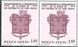 J) 1978 MEXICO, HORIZONTAL PAIR, 400TH ANNIVERSARY OF THE FOUNDING OF SAN CRISTOBAL DE LAS CASAS, CHIAPAS, BY DIEGO DE M - Mexico