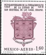 J) 1978 MEXICO, 400TH ANNIVERSARY OF THE FOUNDING OF SAN CRISTOBAL DE LAS CASAS, CHIAPAS, BY DIEGO DE MAZARIEGOS, ARMS O - Mexico