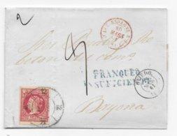 Lettre Espagne Timbre 12 Cuartos OVIEDO 1861 FRANQUEO / INSUFICIENTE Taxe Manuscrite - 1850-68 Royaume: Isabelle II