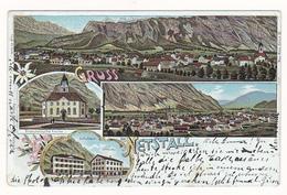 AK GL NETSTAL Litho Glarus Rieden Schule Consum  1901 Netstall Gruss Aus - GL Glaris