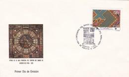 VITRAL DE LA SALA PRINCIPAL DEL EDIFICIO DEL BANDO DE CREDITO DEL PERU, 1929. 1989 FDC PRIMER DIA DE EMISION -LILHU - Vidrios Y Vitrales