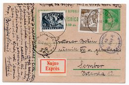 1948 YUGOSLAVIA, SLOVENIA, TPO 3 LJUBLJANA-BELGRADE, SENT TO SOMBOR, EXPRESS, STATIONERY CARD, USED - Postal Stationery