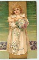N°14235 - Herzlichen Glückwunsch - Clapsaddle - Fillette Portant Un Bouquet De Fleurs - Fêtes - Voeux