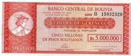 BOLIVIA 5000000 PESOS BOLIVIANOS 1985 P-192A  UNC - Bolivia