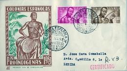 1953 , GUINEA ESPAÑOLA , ED. 322 , 324 , SOBRE DE PRIMER DIA CIRCULADO , PRO INDÍGENAS , MÚSICOS , SERIE CORTA - Guinea Spagnola