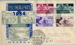 1954 , GUINEA ESPAÑOLA , ED. 334 / 337 , SOBRE DE PRIMER DIA CIRCULADO , PRO INDÍGENAS , CAZA , CAZADORES , HUNTING - Guinea Spagnola