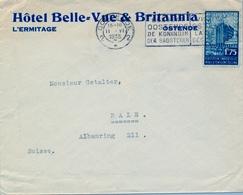 """1935 BÉLGICA ,  SOBRE COMERCIAL CIRCULADO OSTENDE - BALE """" HOTEL BELLE VUE & BRITANNIA """" - Belgium"""