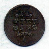 GERMAN STATES - BAVARIA, 2 Pfennig, Copper, Year 1796, KM #269 - [ 1] …-1871 : Duitse Staten