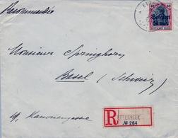 1917 BÉLGICA ,  OCUPACIÓN ALEMANA , SOBRE CERTIFICADO , ETTERBEEK - BASEL - Guerra '14-'18