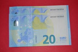 2x 20 EURO FRANCE U026 G2 - PAREJA RADAR - UB5661063065 / UB5661063056 - NEUF - UNC - EURO